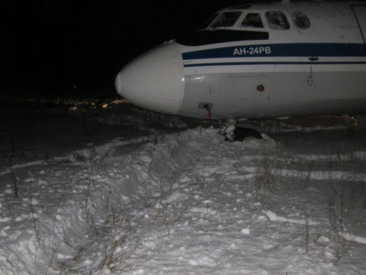 An Antonov 24 aircraft that came to rest in the snow at Saransk, Russia