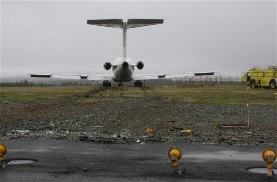 The Boeing 727-281 that overran the runway at St. Johns International Airport (photo: TSB)