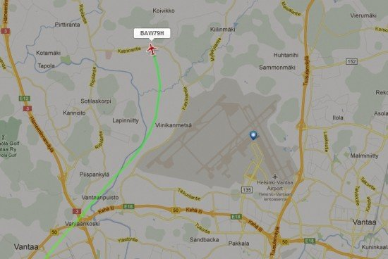 Flight BA794 aborting the approach to runway 04L at Helsinki (image from Flightradar24)