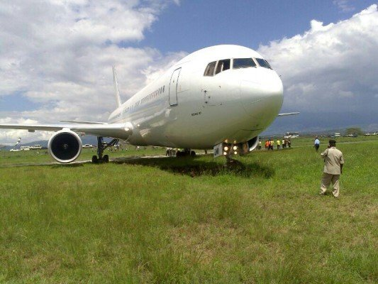 A B767 with the nose gear dug in at Arusha following wrong airport landing Dec. 2013