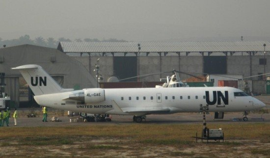CRJ-100ER 4L-GAE pictured at Kinshasa-N'Djili in 2008 (© Clive Hindmarch)