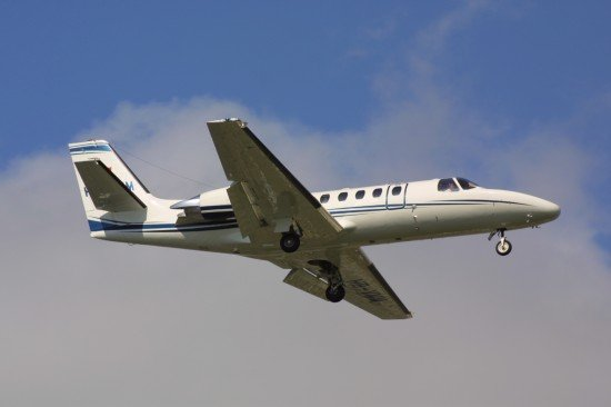 File photo of a Cessna 550 Citation II on final approach.