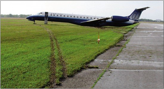 The EMB-145 came to rest in the grass (photo: TSB)