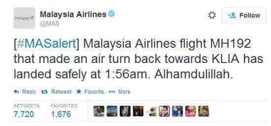 Malaysia Airlines's tweet after the safe landing.