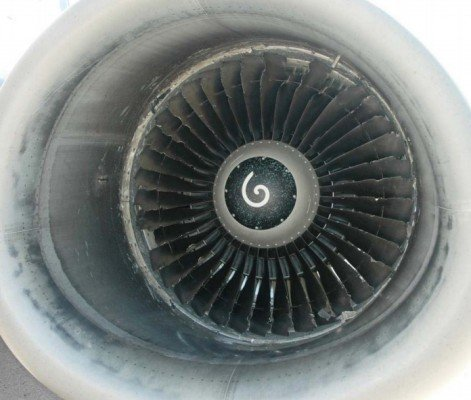 Damaged fan blades of the left hand engine (AIB DK)