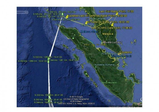 MH370 Flight path for the first part of the flight