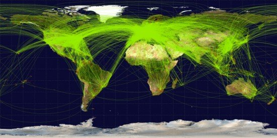Map of scheduled airline traffic around the world, 2009 (Jpatokal / CC:by-sa)