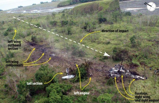Accident site and wreckage trail (PNG AIC)