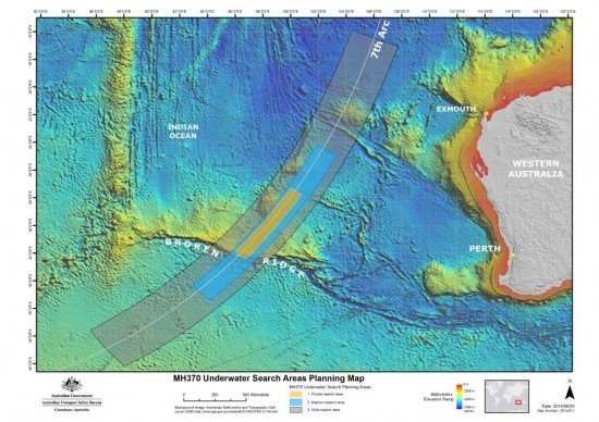 Underwater Search Areas Planning Map (ATSB)