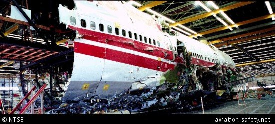 Wreckage of TWA800 (NTSB)