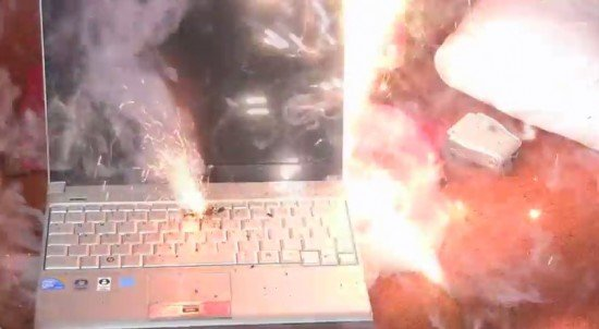 Lithium battery fire on a laptop (CAA)